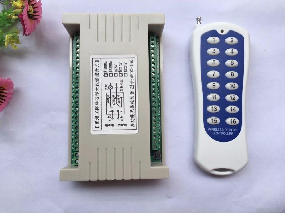 Long Range DC12V 16ch Радио Управление Лер rf Беспроводной Дистанционное управление переключатель Системы, 315/433 МГц, передатчик и приемник