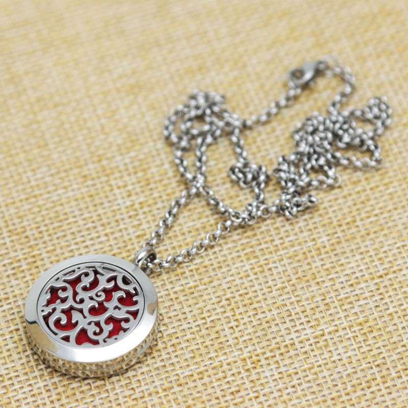 <font><b>Winding</b></font> <font><b>roots</b></font> Aromatherapy Essential Oils Stainless Necklace pendant Perfume Diffuser Locket With chain and 10pcs Felt pads