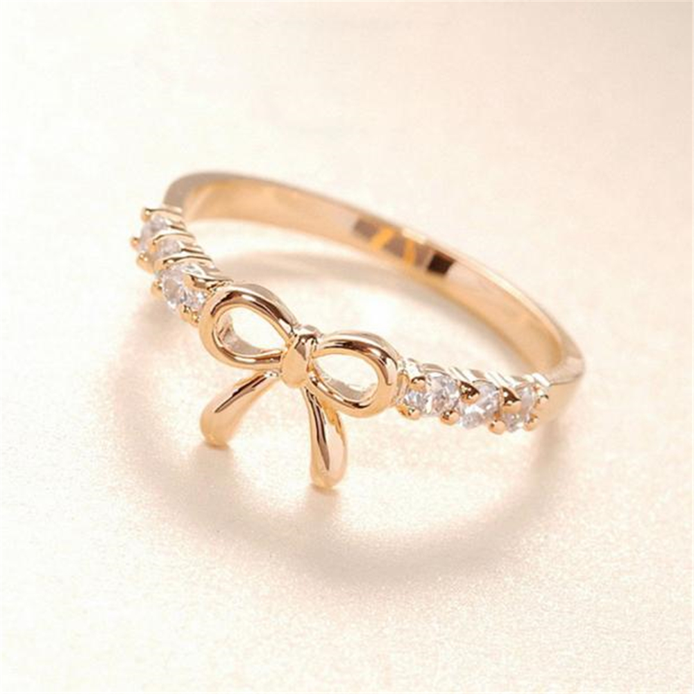 Korean Style Hot Sale Headwear jewelry Women Girls Simple Crysta bow shape rings Gold Silver free shipping