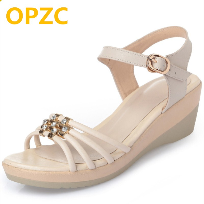 OPZC Genuine leather women sandals. 2018 new slope with fashion diamond buckle mother summer shoes female .Plus size 35-43 # anime dragon ball z goku wife chichi pvc action figure toy loli collection model toy 14cm