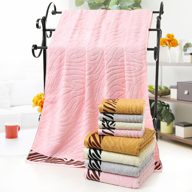 70x140cm High Quality Simple Solid Color Bath Towel Striped Cotton