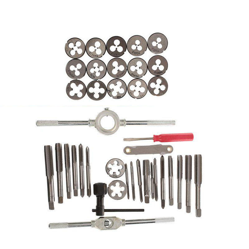 Image 3 - 40pcs Metric Alloy Steel Tap & Die Set M3 M4 M5 M6 M8 M10 M12 Screw Thread screw Plugs Taps with Wrench Broaching Hand Tools Set-in Tap & Die from Tools