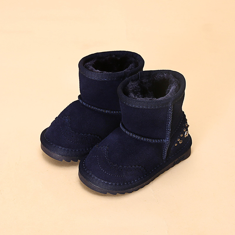 5 Color winter new children snow boots reihnstone kids leather boots warm shoes with fur princess