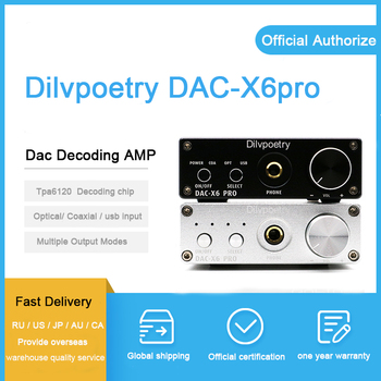 Dilvpoetry DAC-X6 pro Stereo Audio 2 channel amplifier & headphone amplifier 24-bit/192kHz Optical/Coaxial/USB inputs
