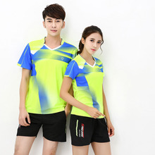 Кофта для бадминтона рубашка пары рубашки в стиле унисекс для игры в настольный теннис, футболка M-4XL дышащая быстросохнущая Мужская/Женская футболка для бадминтона шорты
