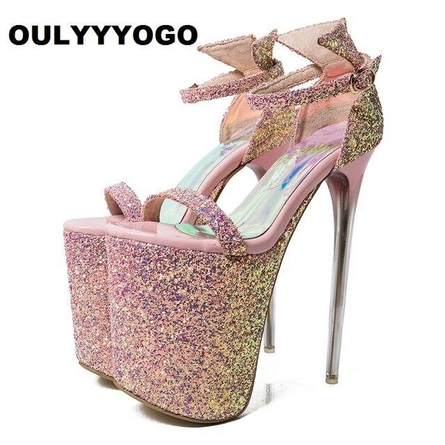 f4c4bd0943701 Ultra wysokie obcasy (20 cm) platforma Party sandały Sexy cekinami skórzane  Bling kobiet buty