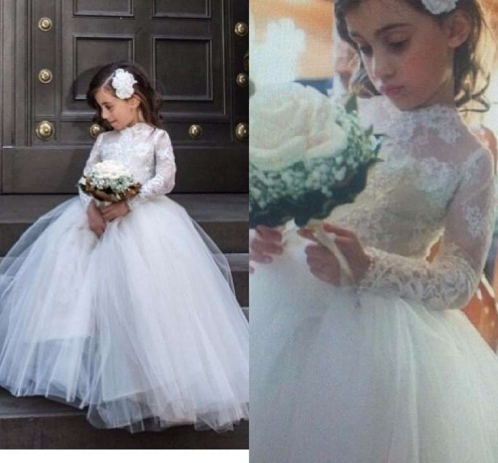 Princess White Lace Little   Flower     Girl     Dresses   with Sheer Long Sleeves Pageant Gowns First Communion   Dress   Custom Made
