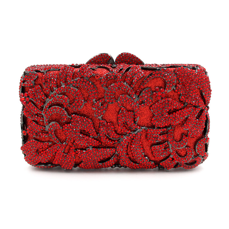High quality luxury crystal diamond hollow flower design color mini party clutch evening bag ladies handbag purse dinner boutique charm full of high quality diamond fashion party mini purse clutch evening bag ladies handbag shoulder bag wallet 88631