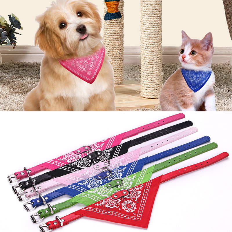 Puppy Neckerchief Adjustable Pet Dog Cat Neck Bandana Collar Scarf Accessories for Cats & Small Dogs Black Red Blue Pink Purple(China)