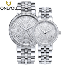 ONLYOU Women Watches Ultra Thin Steel Full steel sapphire Quartz Lovers Wrist watch Bracelet Full Rhinestones montre Femme clock