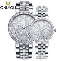 Onlyou Для женщин Часы ультра тонкий Сталь полный Сталь сапфир любителей кварцевые наручные часы браслет полный Стразы Montre Femme часы