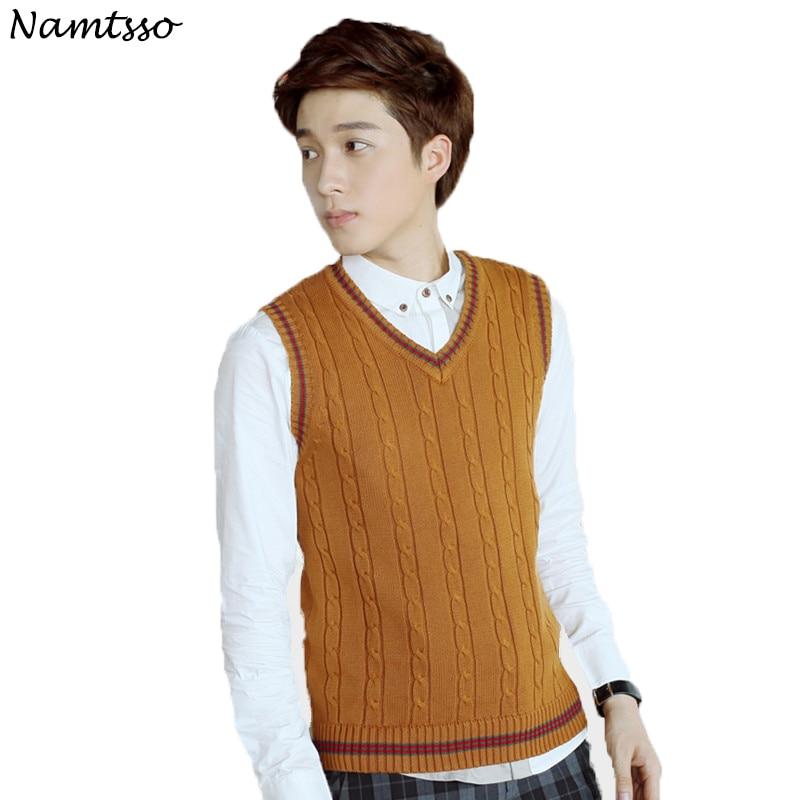 100% Cotton Vest Men 2019 Autumn Winter New Classic V-neck Sleeveless Sweater Cotton Knitwear Pull Men Brand Base Top Clothing
