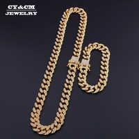 13 мм, кубинская цепочка, ожерелье из золота и серебра, браслет с кристаллами и стразами в стиле хип-хоп для мужчин, ювелирные изделия, ожерель...