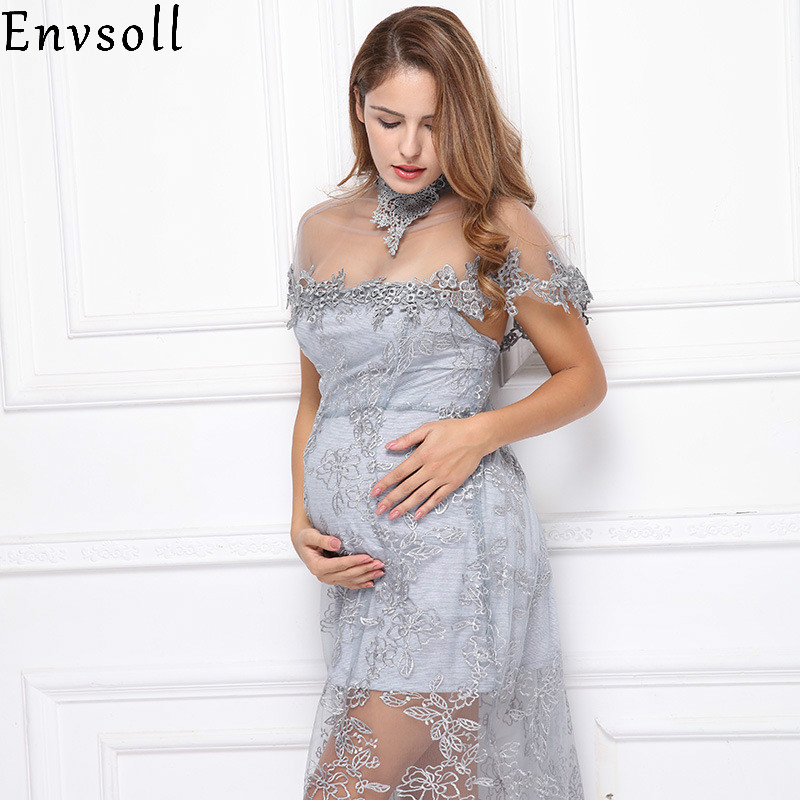 c502e66c909bb Envsoll Maternity Dresses Lace Flower Dress Pregnant Photography Props Dress  Fancy Pregnancy Photo Shoot Studio Clothing
