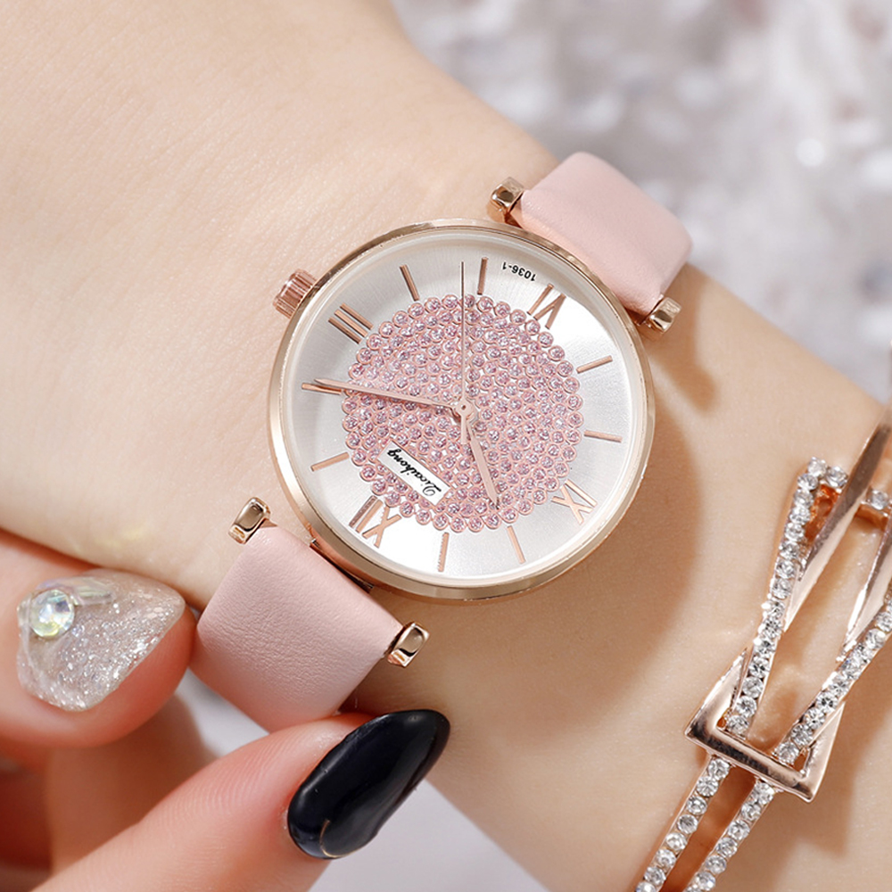 Luxury Diamond Women Watches Fashion Starry Sky Ladies Dress Clock Casual Pink Leather Waterproof Female Wristwatch Gift ForGirl