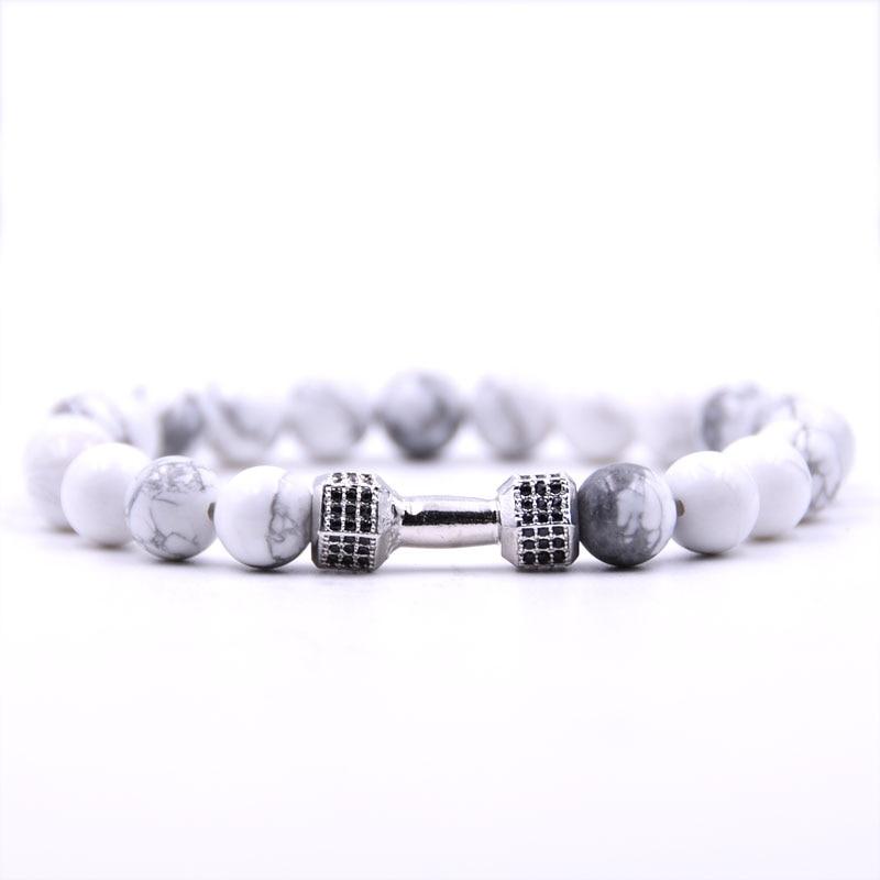 Jewelry & Accessories Bracelets & Bangles Beautiful Kang Hua 2019 Glamour Jewelry 5 Color Stone Bracelet Pave Cz Silver Metal Barbell Bracelets For Women&men Charm Popular Jewelry Latest Technology