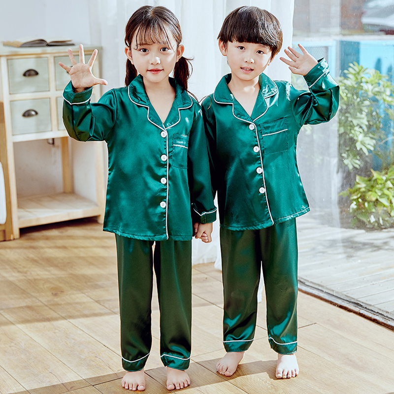 Girls Pajamas 2019 Autumn Winter Long Sleeve Children's Sleepwear Set Silk Pajamas Suit Boys Pyjamas Sets For Kids Tracksuit Set