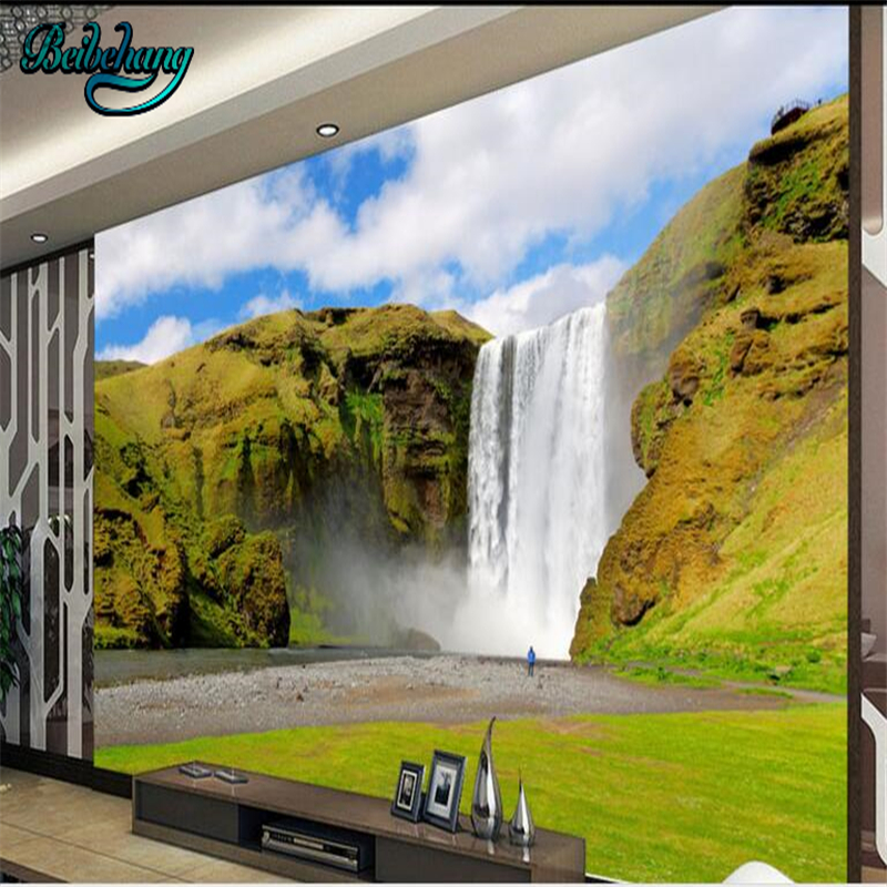 beibehang Landscape Paintings Alpine Waterfront Lounge Sofa TV Backdrops Large Custom Wallpapers Fresco Decorations image