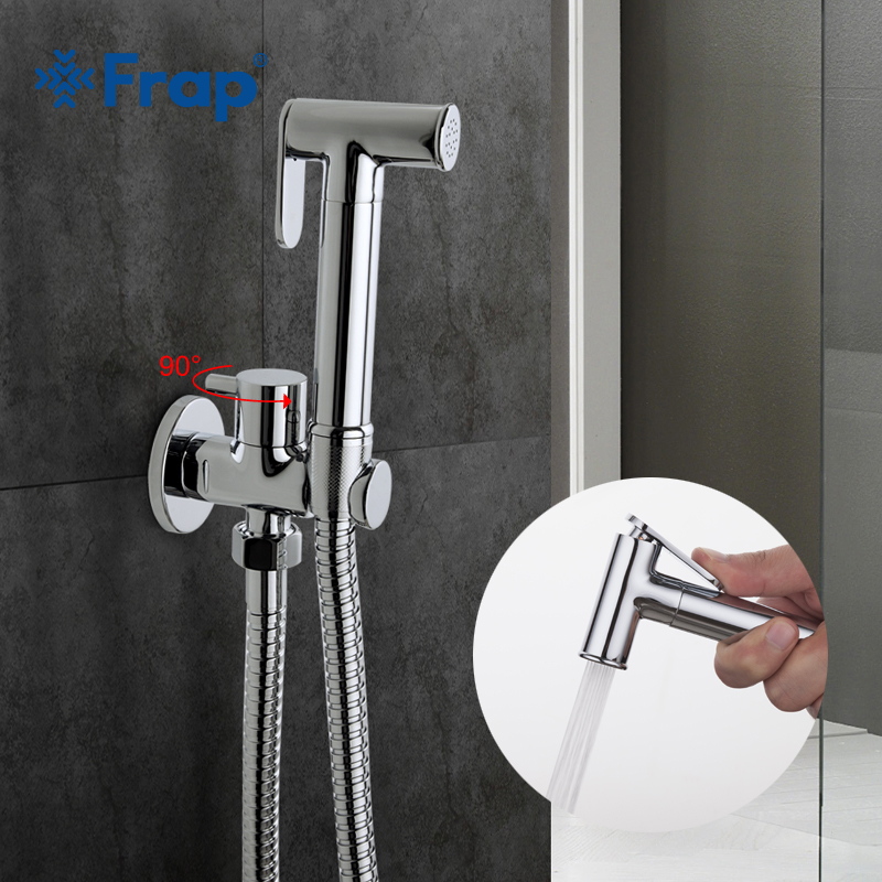 hygienická sprcha s mixérem - Frap1 Set Solid Brass Single Cold Water Corner Valve Bidet Function Cylindrical Hand Shower Tap Crane 90 Degree Switch F7501