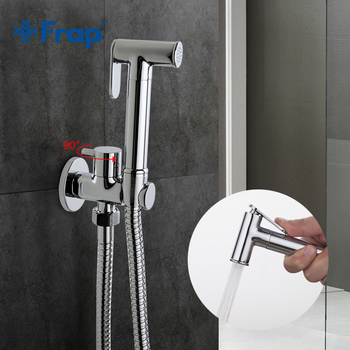 Frap1 Set Solid Brass Single Cold Water Corner Valve Bidet Function Cylindrical Hand Shower Tap Crane 90 Degree Switch F7501 - discount item  43% OFF Bathroom Fixture