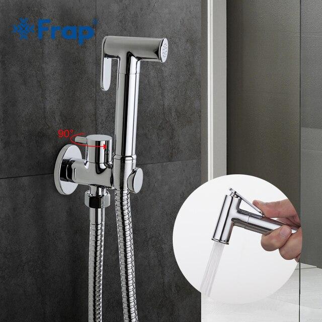 Frap1 комплект твердая латунь одной холодной воды угловой клапан биде Функция цилиндрической формы ручной душ крана 90 фиксированный переключатель F7501