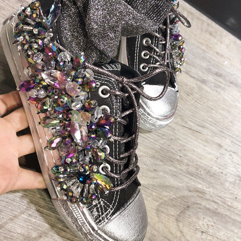 bling bling Women's Punk rock party casual shoes rhinestone shoes casual pearl girl shoes canvas bling Comfortable flat shoes