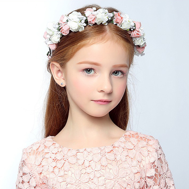Children Handmade Rose Floral Flower Crown 2017 New Spring Summer Headband Girls Hair Garland Festival Wedding Hair Accessories