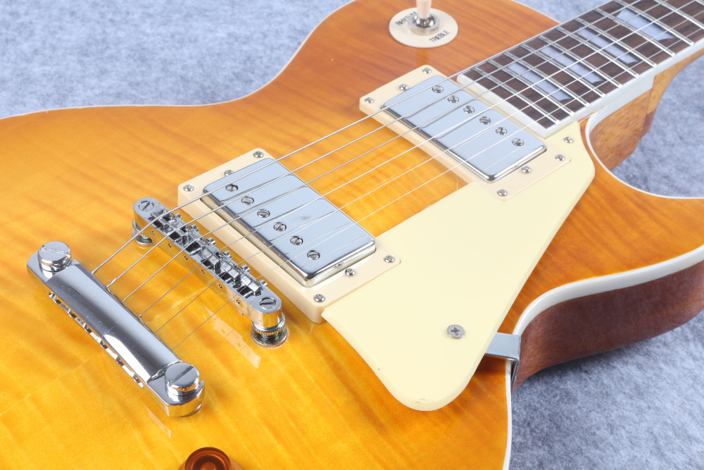 In Stock Chibson Yellow Burst Les Chinese Paul LP Style Standard Electric Guitar with Ebony fingerboard Free Shipping chibson yellow burst les chinese paul style standard electric guitar left handed with ebony fingerboard fretside binding111022