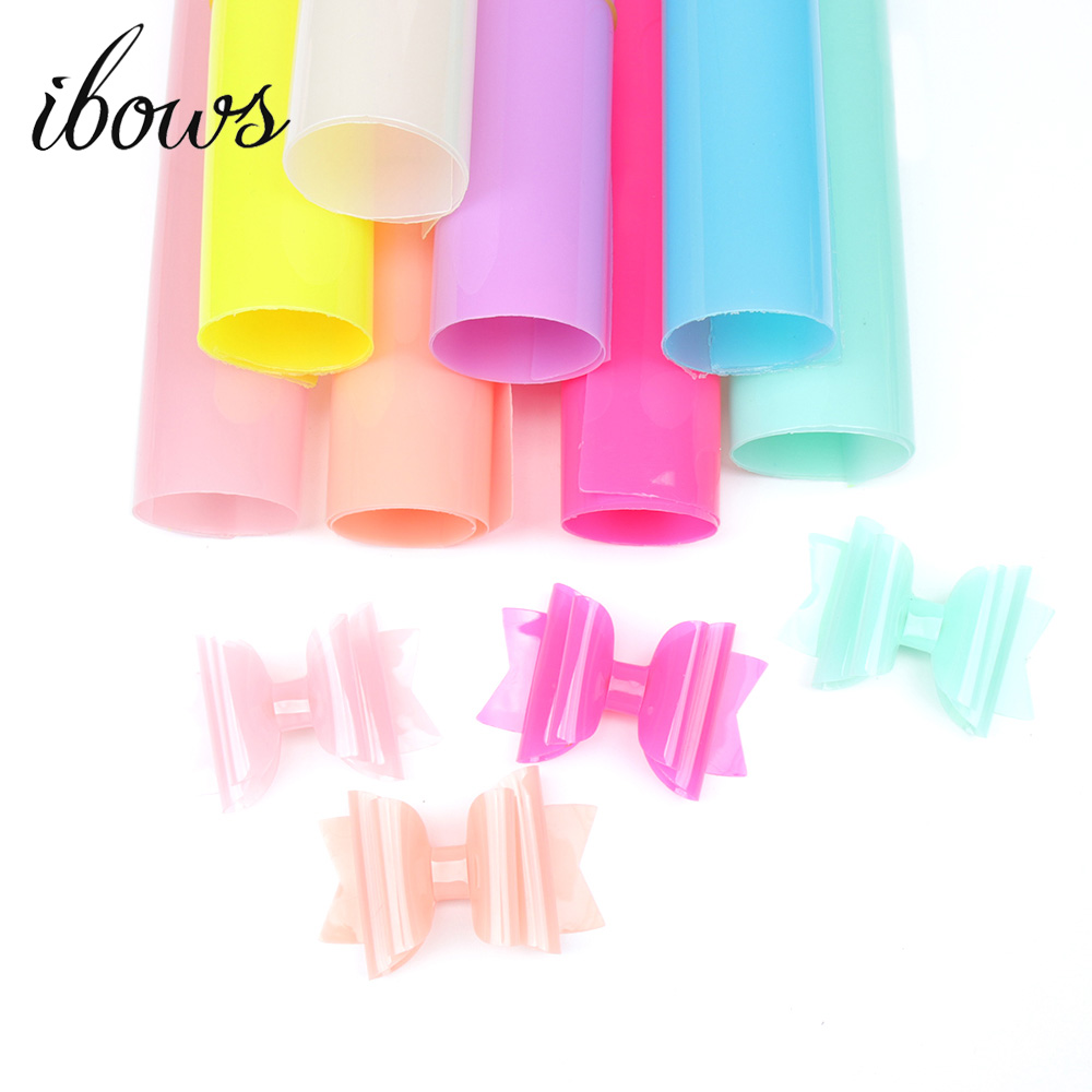 IBOWS 8pcs 22cm*30cm Jelly Synthetic Leather Fabric Transparent PVC Vinyl Fabric For DIY Hair Bows Bags Handmade Crafts Material