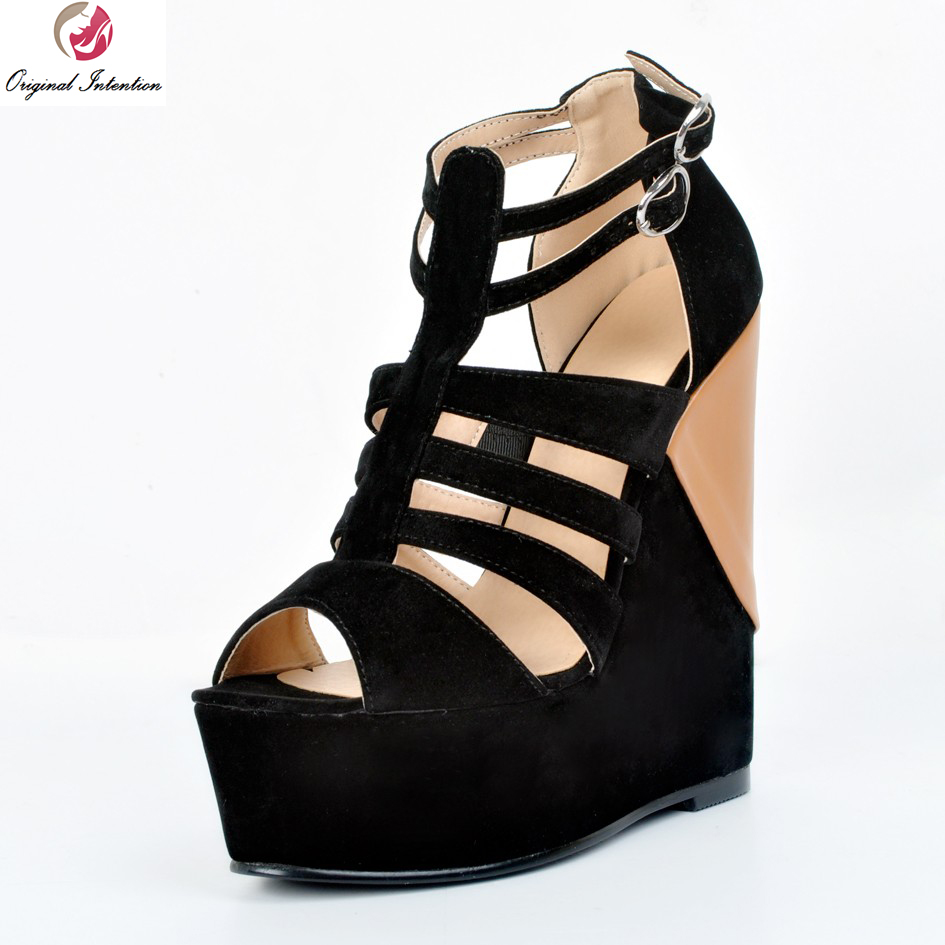 Black nice sandals - Original Intention New Fashion Women Sandals Nice Platform Peep Toe Wedges Sandals Black Shoes Woman Plus