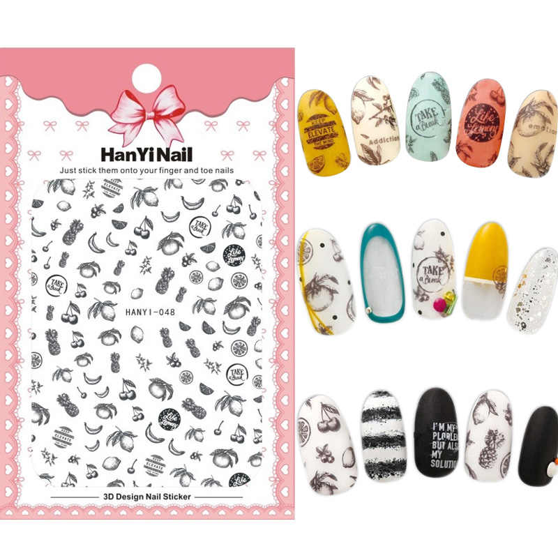 HanYiNail 048-056 Fruit Banana Emoji Fantacy Flowers Bear Nails Art Sticker Harajuku Nail Wrap Sticker Tips Manicura stickers