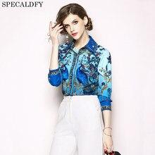 93b4a786bb8 Luxury Print Vintage Long Sleeve Shirt Women Blouses Runway Designer Tops  Ladies Office Shirts Blusas Mujer De Moda 2018