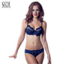 QIZHIMIAO Free Shipping Fashion transparent sexy bra set plus size Women gauze embroidery ultra-thin navy blue black underwear