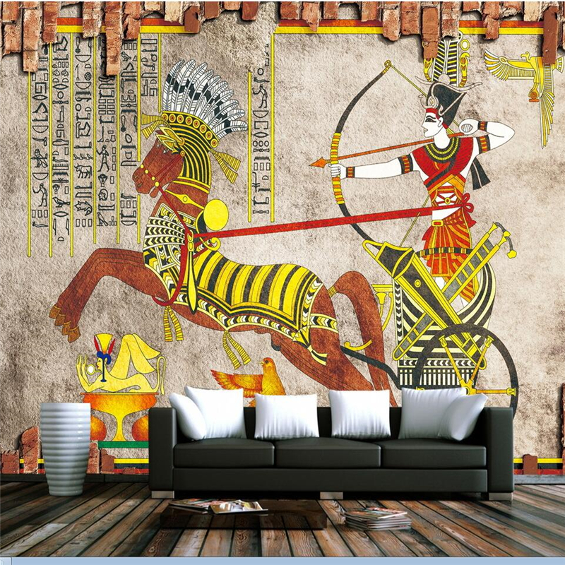 Beibehang Papel De Parede Para Quarto Custom Wallpaper Ancient Egyptian  Classic Chariot Restaurant Wall Tiles TV Wall Murals Part 70