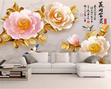 beibehang Custom size classic wallpaper 3D embossed flowers open rich peony new Chinese TV background  wall papers home decor