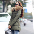High Quality Large Real Fur 2016 Winter Jacket Women Genuine Raccoon Fur Collar Hooded Thick Coat Women Winter Parka