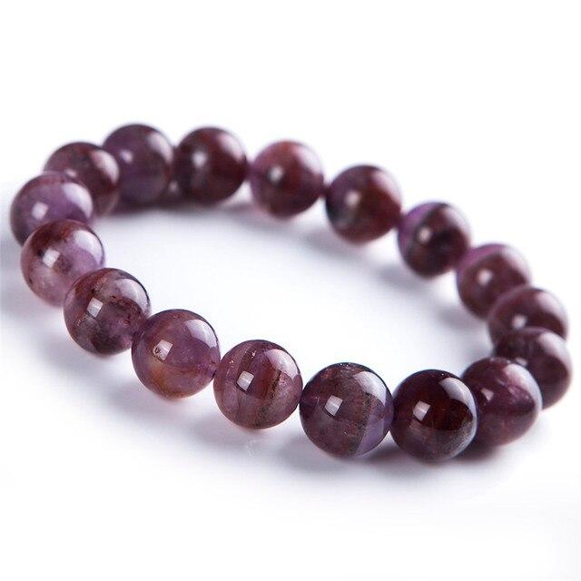 13mm Genuine Purple Red Natural Cacoxenite Auralite 23 Gem Stone Crystal Quartz Braceles For Women Round Bead Stretch Bracelet
