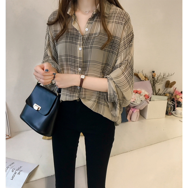 long sleeve female shirt striped plaid OL women blusas 3