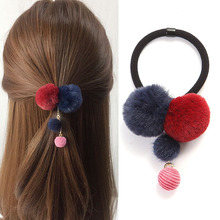 Fashion Girls Hair Ties Ropes Colorful Pompon Elastic Bands Scrunchies Ponytail Holder For Women Accessories