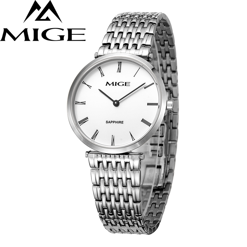 Mige 2017 New Hot Sale Top Brand Lover Watch Simple White Dial Steel Case Man Watches Waterproof Quartz Mans Wristwatches