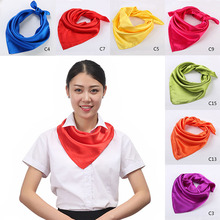 Fashion 60x60cm Women Silk Square Scarf Small Plain Neckerchief Head Neck Headband Multipurpose