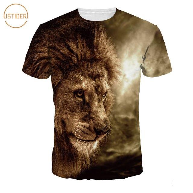 40fbcbf0ad3 ISTider Unisex Cool Streetwear Fashion Women Men 3D Lion T Shirt 2018 Summer  Animal Printing Funny Tee Shirt Hip Hop Tops