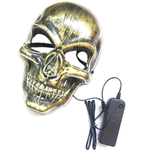 LED Mask Skull Party Mask El Cold Light Glowing Masks Cosplay Accessory for Halloween (White)