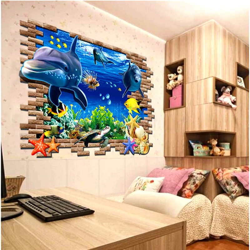 Aliexpress.com : Buy DIY Beautiful Sea World Dolphin 3D Wall Art Window  Sticker Vinyl Decal Home Decor From Reliable Home Decor Suppliers On Hui  Room Part 69