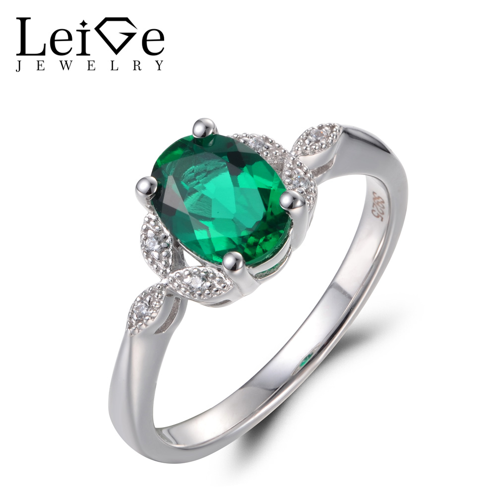 Leige Jewelry Emerald Rings Proposal Rings May Birthstone Oval Cut Gemstone Solid 925 Sterling Silver Romantic Gifts for Women
