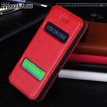 Genuine Leather Case For Apple Iphone 5 5S Luxury Magnetic Protective Cover For 5 5s Flip Case With Window View