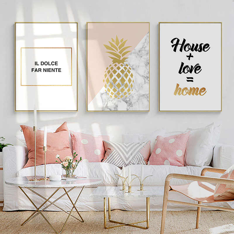 GZCJHP Golden Pineapple Nordic Style Wall Art Canvas Motivational Posters and Prints Painting Wall Picture for Living Room Decor