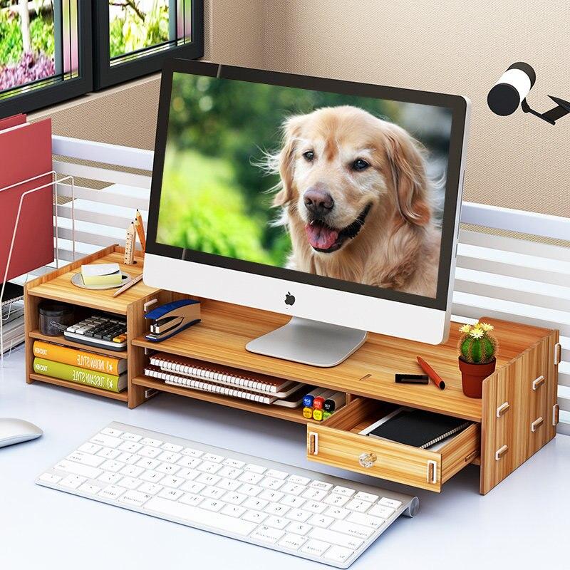 Étui de rangement pour ordinateur portable, support en bois pour moniteur de bureau