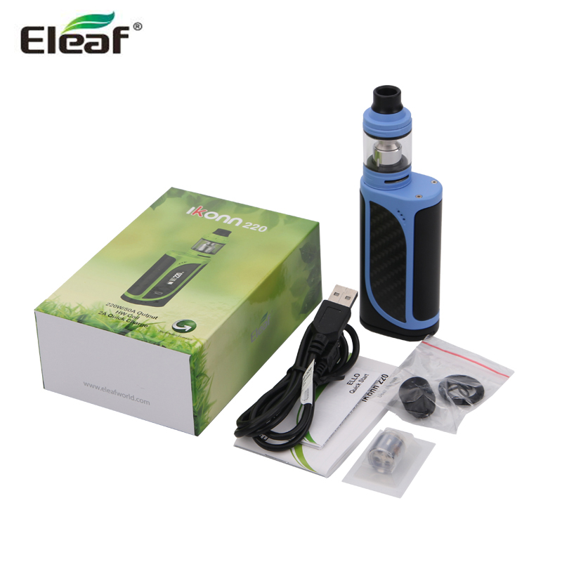 Original Eleaf iKonn 220 VW TC 220W Box Mod with ELLO Tank 2ml /4ML Atomizer Kit Electronic Cigarette Vaporizer original eleaf invoke 220w with ello t tc kit with 2ml ello t tank extendable to 4ml