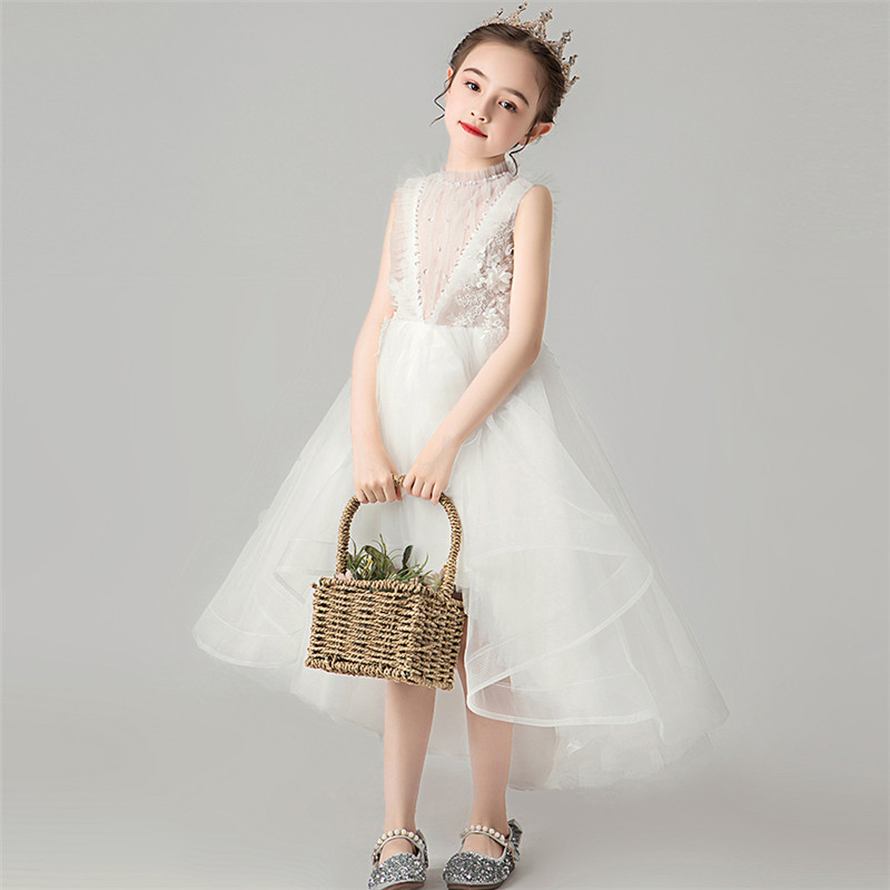 Image 5 - Children Little Girls Solid White Birthday Holiday Party Front 